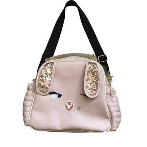 EUC Betsey Johnson pink bunny rabbit cooler bag